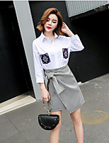 Women's Casual/Daily Simple Summer Shirt Skirt Suits,Houndstooth Shirt Collar Long Sleeve Embroidered