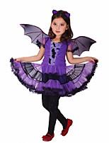 Purple Batgirl Cosplay Costume Girls Vampire Dress For Children Halloween Party Clothing For Girls New Years Christmas Bat Dress