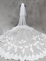 Свадебные вуали Два слоя Фата для венчания Обрезанная кромка Тюль