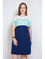 Really Love Women's Plus Size Casual/Daily Holiday Sexy Simple Cute Shift T Shirt Tunic Dress,Color Block Patchwork Round Neck Knee-lengthShort