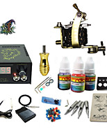kits de tatouage pour débutants 1 x Damas machine à tatouer acier pour la doublure et l'ombrage LCD alimentation5 x Aiguilles de tatouage