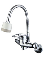 Traditional Modern Pot Filler Standard Spout Wall MountedCeramic ValveChrome , Kitchen faucet