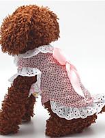 Cachorro Vestidos Roupas para Cães Casual Fashion Pontos Azul Rosa claro