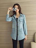 Women's Going out Casual/Daily Sexy Cute Spring Fall Denim Jacket,Solid Notch Lapel Long Sleeve Long Cotton
