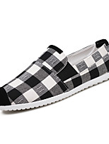 Men's Loafers & Slip-Ons Comfort Canvas Spring Summer Outdoor Office & Career Casual Lace-up Flat Heel Blue Red Black Flat