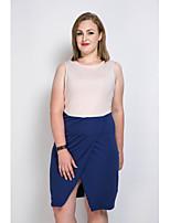 Для женщин Для клуба На каждый день Вечеринка/коктейль Секси Винтаж Простое Прямое Оболочка Платье Контрастных цветов Пэчворк,V-образный