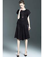 Mujer Sofisticado Casual/Diario Verano Blusa Falda Trajes,Escote Redondo Un Color Manga Corta