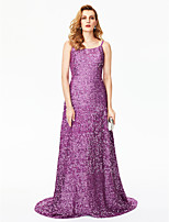 TS Couture Formal Evening Dress - Sparkle/Shine Celebrity Style Sheath / Column Spaghetti Straps Sweep / Brush Train Sequin with Sequins