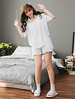 Women's 2 Pcs Shorts Sleepwear Suit Short Sleeve Sweet Plaid Pajamas Suit