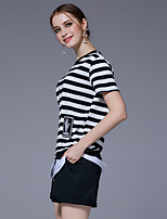 Women's Going out Casual/Daily Cute T-shirt Pant Suits,Striped Round Neck Short Sleeve High Elasticity