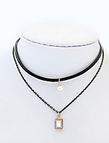 Layered  Pendant  Necklaces Women's Euramerican Fashion Simple Pearl Rhinestone necklace Party Daily Movie Jewelry