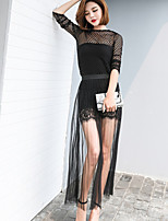 Women's Party Glamorous & Dramatic Summer T-shirt Skirt Suits,Solid Round Neck Long Sleeve Cut Out Micro-elastic