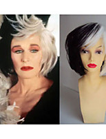 Deluxe Cruella Deville Voluminous Short Bob Costume Cos Wig Hair Heat Resistant