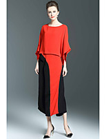 Women's Casual/Daily Sophisticated Summer Spring Blouse Pant Suits,Color Block Round Neck 3/4 Length Sleeve