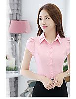 Women's Work Simple Shirt,Striped Shirt Collar Short Sleeve Special Leather Types