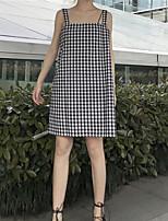 Damen A-Linie Kleid Einfach Schachbrett Gurt Mini Übers Knie Ärmellos Baumwolle Sommer Mittlere Hüfthöhe Unelastisch Dünn