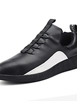 Men's Athletic Shoes Comfort PU Spring Fall Outdoor Comfort Lace-up Flat Heel White Black Flat