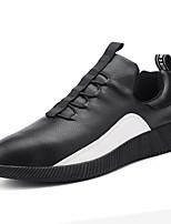 Для мужчин Спортивная обувь Удобная обувь Полиуретан Весна Осень Для прогулок Шнуровка На плоской подошве Белый Черный На плоской подошве