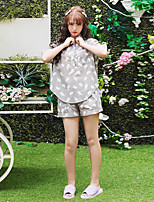 Women's 2 Pcs Shorts Sleepwear Suit Half Sleeve Elephant Pettern Pajamas Suit