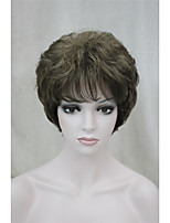 Fashion Curly Ash Brown With Ginger Highlights Short Synthetic Hair Full Women's  Wig For Everyday