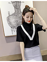 Women's Going out Regular Cardigan,Solid Crew Neck Short Sleeve Cotton Summer Medium Micro-elastic