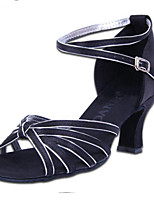Women's Latin PU Sandals Heels Indoor Buckle Low Heel Brown Black 2