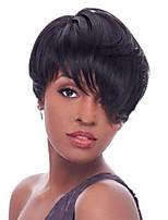 Hot black  Fluffy Short hair Human Hair Wigs For woman