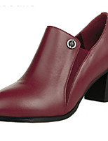 Women's Heels Comfort PU Leather Spring Casual Burgundy Gray Black Flat