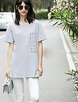 Dames Eenvoudig T-shirt,Dagelijks Causaal Citaten & Gezegdes Ronde hals Korte mouw Katoen