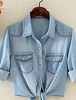 Women's Going out Sophisticated Spring Fall Denim Jacket,Solid Notch Lapel Long Sleeve Short Polyester