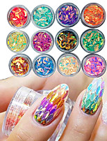 12 box Manicure Horse eye Drop Shaped Colorful Sequins Glue Nail Polish Color Nail Decoration