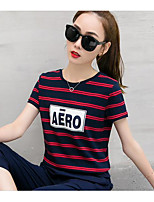 Women's Casual/Daily Simple Summer T-shirt Skirt Suits,Striped Round Neck Short Sleeve Micro-elastic