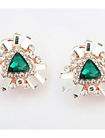 Euramerican  Luxury  Elegant  Green  Rhinestone  Gem  Triangle   Ear  Clips Women's Daily Movie Jewelry