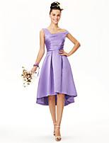 LAN TING BRIDE א-סימטרי שמלה לשושבינה  - גב פתוח אלגנטי ללא שרוולים סאטן