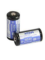 2pcs Xtar bateria recarregável 3.6v 2.405wh li-ião 16340 650mAh