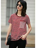 Tee-shirt Femme,Rayé Quotidien Décontracté simple Manches Courtes Col Arrondi Coton