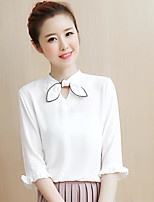 Women's Going out Cute Blouse,Solid Round Neck ¾ Sleeve Others