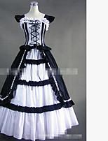 One-Piece/Dress Gothic Lolita Vintage Inspired Elegant Cosplay Lolita Dress Black White Solid Color Floor-length Skirt Dress ForPadded