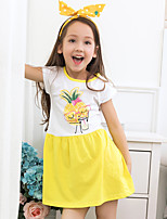 Girl's Cartoon Dress,Cotton Polester/Cotton Blend Summer Short Sleeve