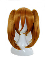 Synthetic Hair 2 Removeable Ponytail  Medium Length Orange  Cosplay Wig