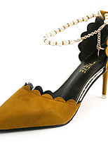 Women's Heels Cashmere Summer Walking Pearl Stiletto Heel Black Yellow Green 3in-3 3/4in