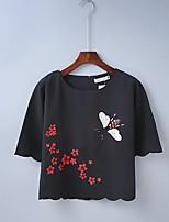 T-shirt Da donna Sensuale Semplice Moda città Estate,Ricamato Rotonda Cotone Mezze maniche Sottile Medio spessore
