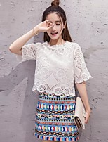 Women's Date Going out Casual/Daily Modern/Comtemporary Summer Blouse Skirt Suits,Solid Round Neck Half Sleeve