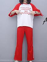 Для женщин На выход На каждый день Лето Осень Как у футболки Брюки Костюмы Вырез под горло,просто Уличный стиль Буквы Слабоэластичная