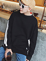 Men's Plus Size Casual/Daily Set Solid Round Neck Micro-elastic Cotton Long Sleeve Spring