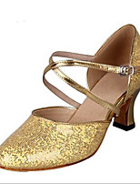 Women's Latin Glitter Heels Indoor Buckle Silver Gold 2