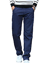 Men's Mid Rise Micro-elastic Active Chinos PantsSimple Loose Straight Solid CR-305