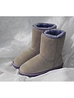 Women's Boots Comfort PU Winter Outdoor Casual Light Brown Dark Grey 1in-1 3/4in
