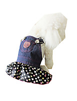 Dog Coat Dog Clothes Casual/Daily Cowboy Polka Dots Black/White