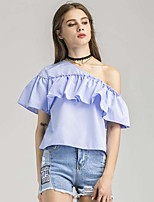Women's Going out Casual/Daily Sexy T-shirt,Geometric Boat Neck Short Sleeve Silk Cotton
